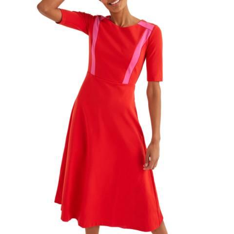 Boden Red Emily Ponte Midi Dress