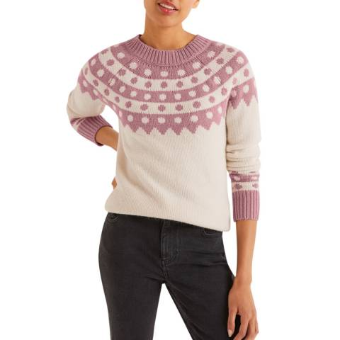 Boden Cream Rhea Fair Isle Jumper
