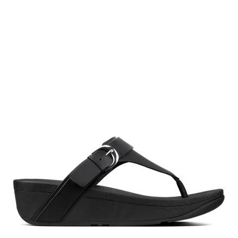 FitFlop Black Edit Leather Adjustable Toe Thongs
