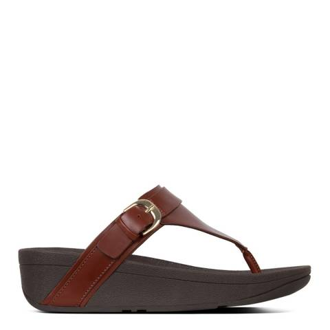 FitFlop Cognac Edit Leather Adjustable Toe Thongs