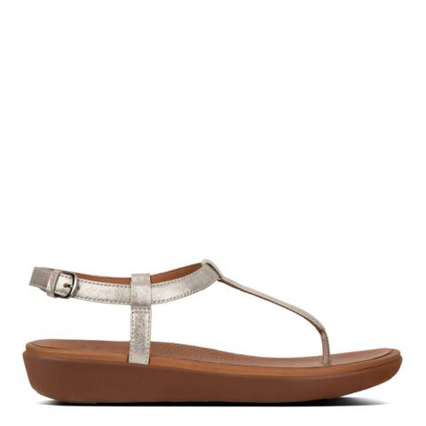 FitFlop Silver Tia Leather Toe Thong Sandals