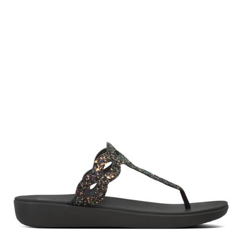 FitFlop All Black KERSTIN GLITTER INTERLACE TOE-THONGS