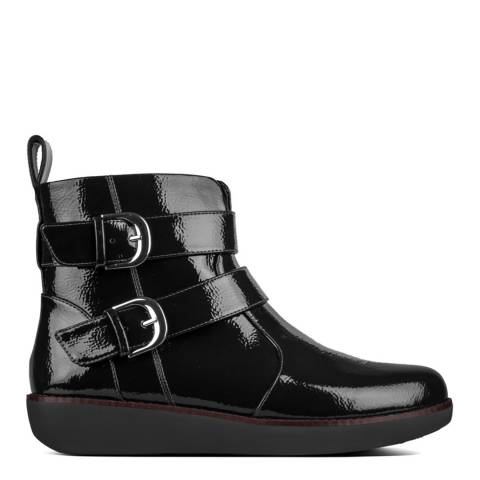 FitFlop Black Laila Double Buckle Patent Ankle Boots