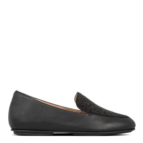 FitFlop Black Lena Crystal Leather Loafers