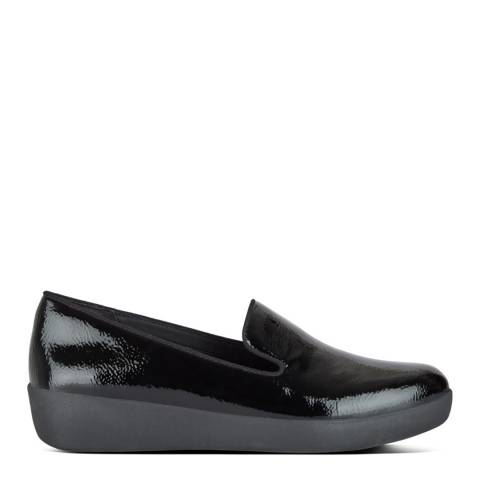 FitFlop Black AUDREY CRINKLE-PATENT SMOKING SLIPPERS