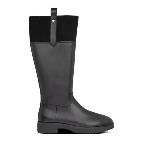 FitFlop Black Signey Leather Knee High Boots