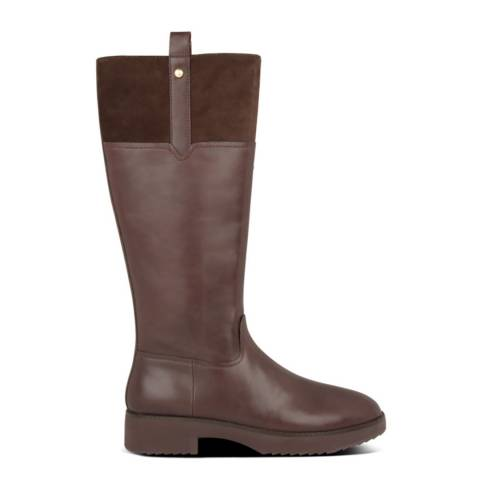 FitFlop Chocolate Brown SIGNEY MIXTE KNEE-HIGH BOOTS