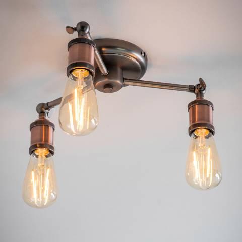 Endon Lighting Pewter/Copper Hal 3-Light Semi flush Lamp