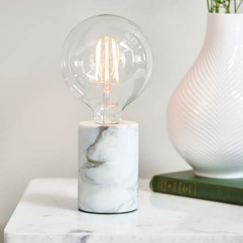 Endon Lighting White Marble Otto Table Lamp
