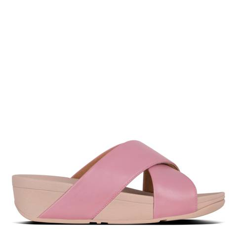FitFlop Pink Lulu Leather Cross Slide Sandals