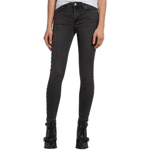 AllSaints Black Grace Stud Skinny Stretch Jeans