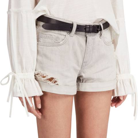 AllSaints Light Grey Pam Cotton Denim Shorts