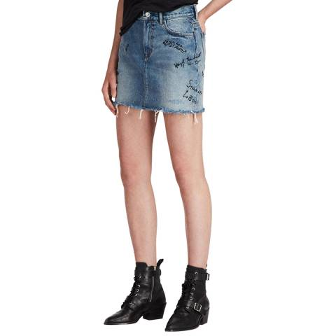 AllSaints Blue Graff Denim Cotton Skirt