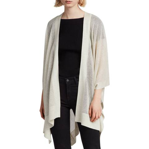 AllSaints Off White Kimono Cotton Blend Cardigan