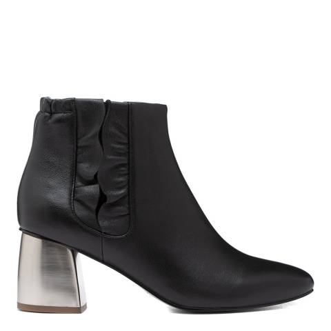 Jil Sander Black Leather Ankle Boots with Silver Heel