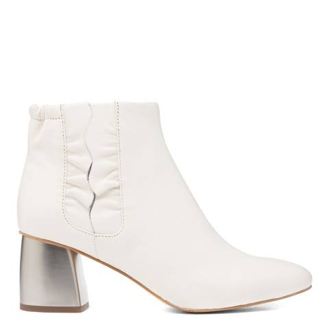 Jil Sander White Leather Ankle Boots with Silver Heel