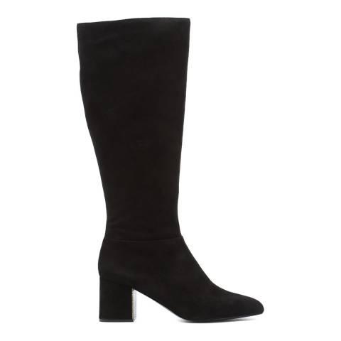 Jil Sander Black Suede Knee High Heeled Boots