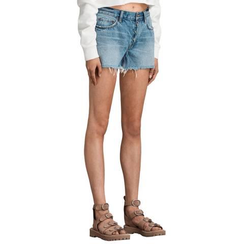 AllSaints Blue Button Boy Cotton Denim Shorts