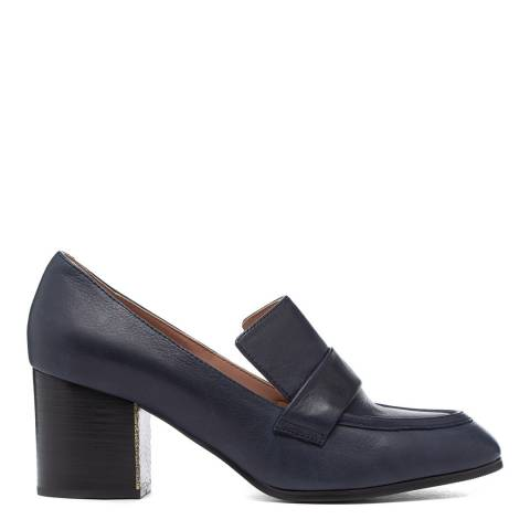 Jil Sander Navy Leather Heeled Loafers