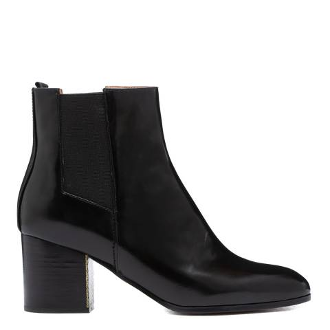 Jil Sander Black Leather Patent Heeled Chelsea Boots