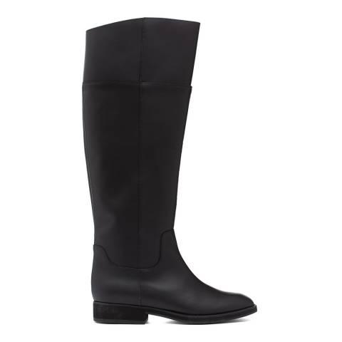 Jil Sander Black Leather Knee High Riding Boots