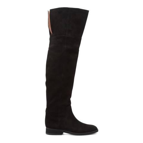 Jil Sander Black Suede High Knee Boots