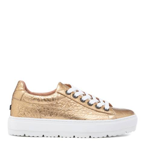 Jil Sander Gold Crinkle Leather Sneakers