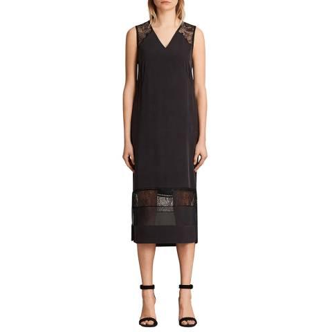 AllSaints Black Long Prism Dress