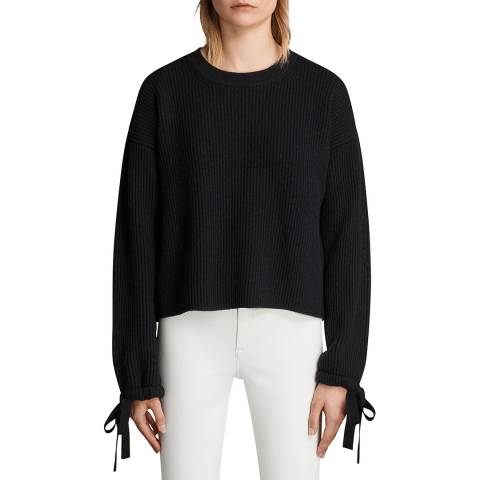 AllSaints Black Sura Wool Blend Jumper