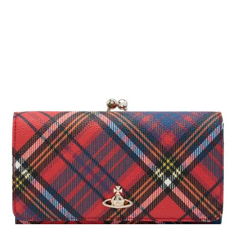 Vivienne Westwood Red Tartan Derby Frame Flap Wallet