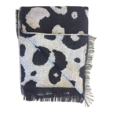 Great Plains Navy Leopard Print Wool Blend Scarf