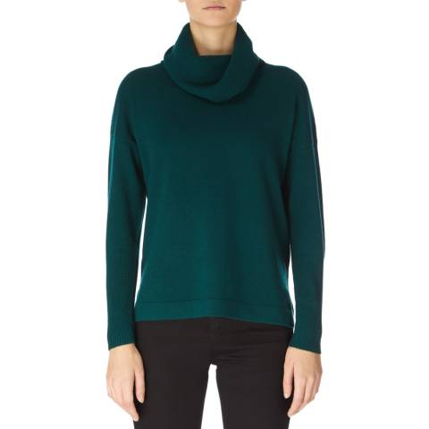 Jaeger Green Wool Cashmere Slouchy Cowl Neck Jumper
