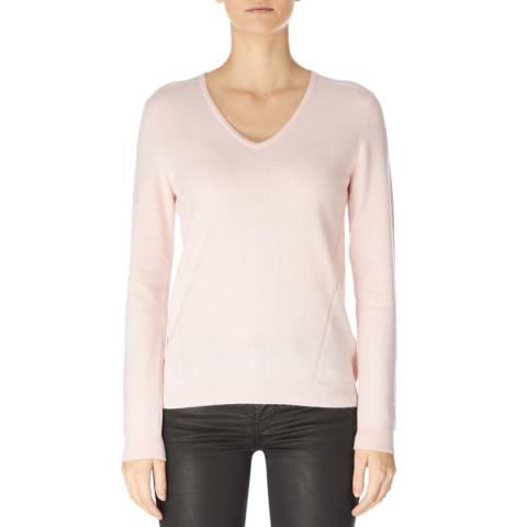 Jaeger Pink Wool Cashmere V Neck Jumper