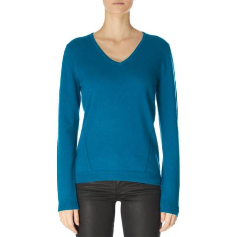 Jaeger Teal Wool Cashmere V Neck Jumper
