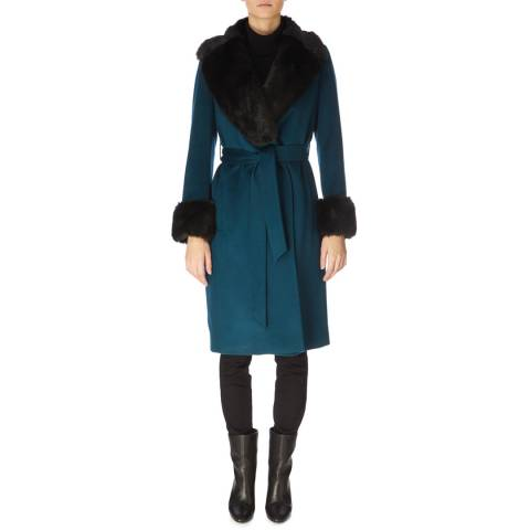 Jaeger Teal Fur Collar and Cuff Wool Coat