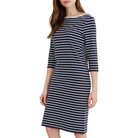 Jaeger Navy Breton Stripe Jersey Dress