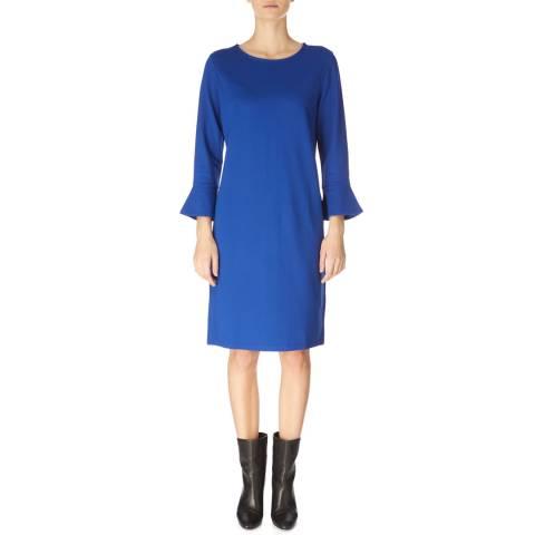 Jaeger Blue Fluted Cuff Jersey Dress