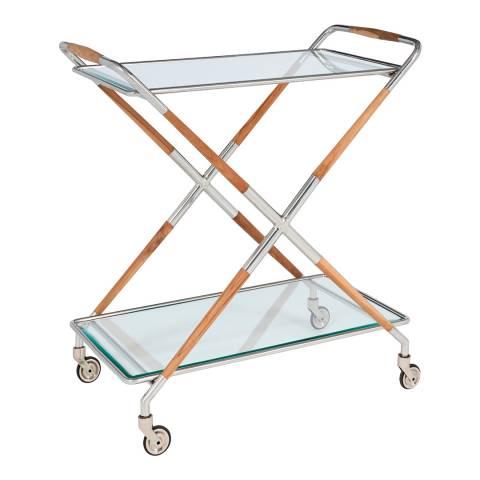 Serene Furnishings Aizawl Shiny Nickel Bar Cart with Teak Wood