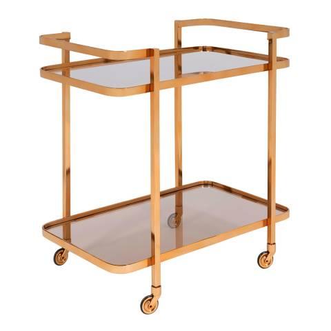 Serene Furnishings Buxar Antique Gold Rectangular Bar Cart