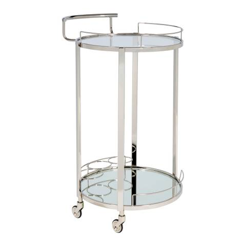 Serene Furnishings Pali Nickel Plated Bar Cart with 3 Bottle Holder