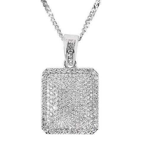 Stephen Oliver Silver CZ Tag Necklace