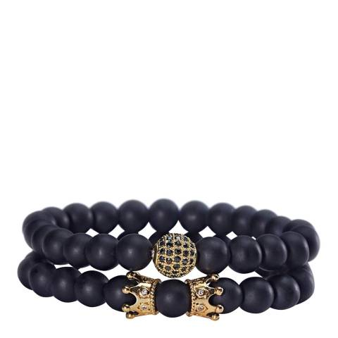 Stephen Oliver 18K Gold Matte Black Zirconia Bracelet Set