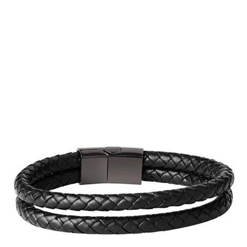 Stephen Oliver Men's Black Plated Steel / Leather Bracelet