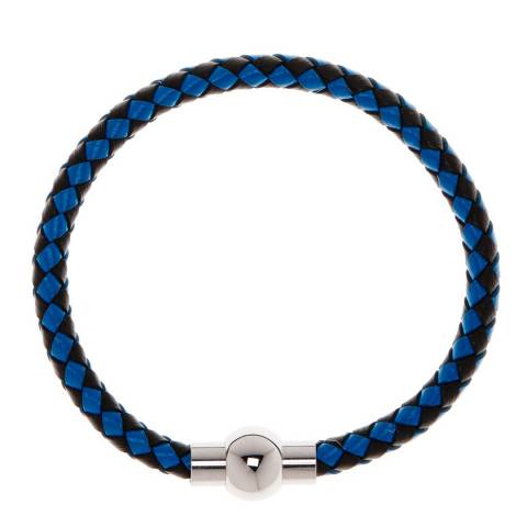 Stephen Oliver Blue And Black Woven  Leather Bracelet In Silver Plated