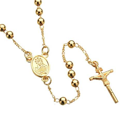 Stephen Oliver Men's Gold Religious Rosary Necklace