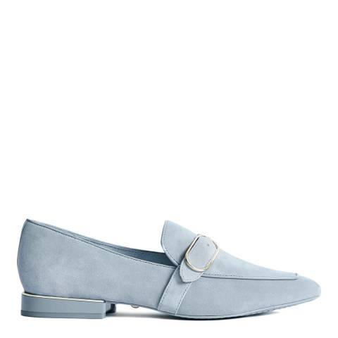 Reiss Light Blue Nova Suede Buckle Detail Loafers