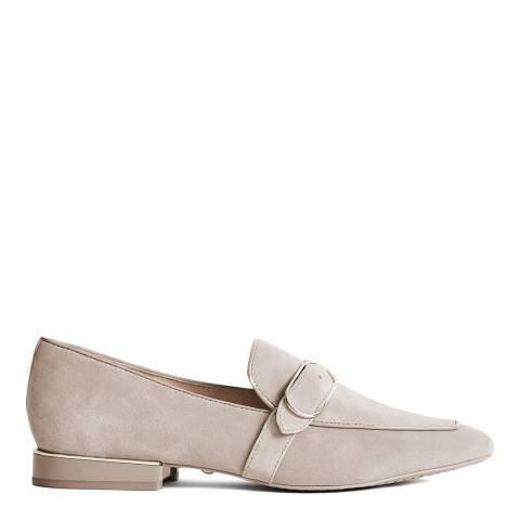 Reiss Taupe Nova Suede Buckle Detail Loafers