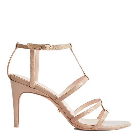 Reiss Taupe Harlow Strappy Leather Heeled Sandals
