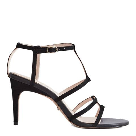 Reiss Black Harlow Strappy Leather Heeled Sandals