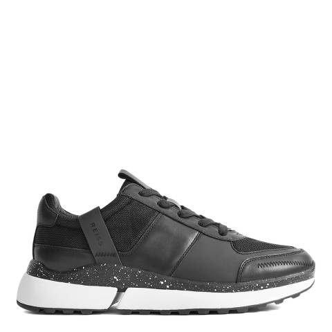Reiss Black Ethan Leather Sneakers